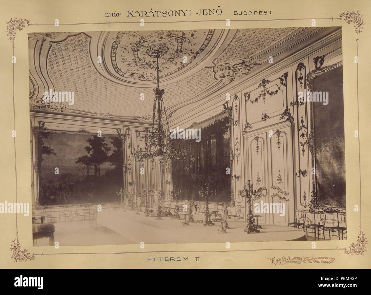 868 Krisztina körút 55., a Karátsonyi-palota (lebontották) ebédlője. A felvétel 1895-1899 között készült. A kép Fortepan - Budapest Főváros Levéltára. Levéltári jelzet- HU.BFL.XV.19.d.1.11.080 Fortepan 83172 - Stock Image