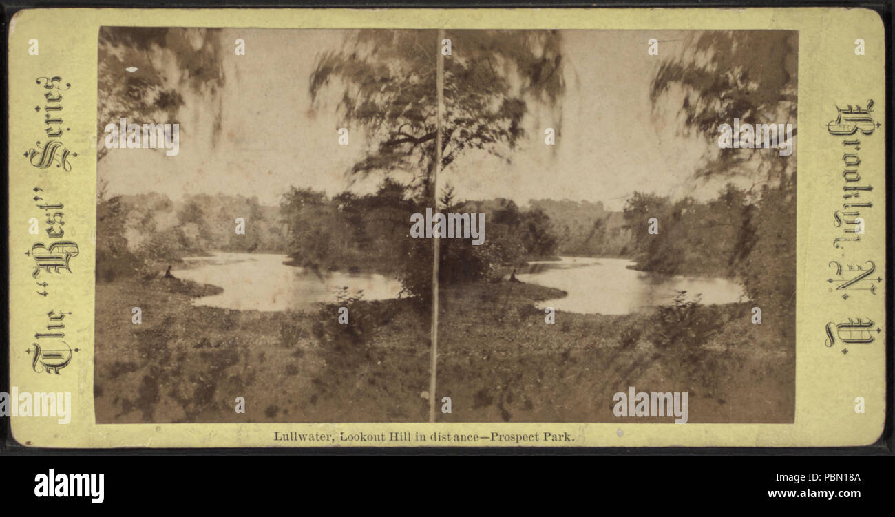 959 Lullwater, Lookout Hill in distance, Prospect Park, from Robert N. Dennis collection of stereoscopic views Stock Photo
