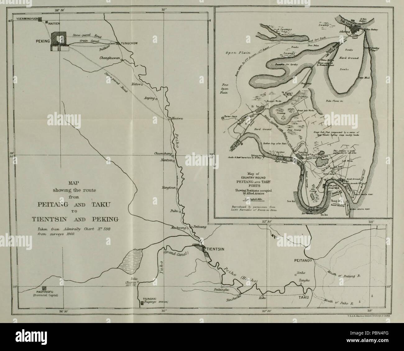 Country Between Peking & The Gulf Of Pechili China Weller 1863 Map Taku Forts