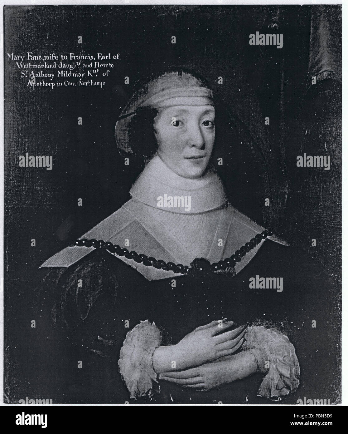 . English: Black & white reproduction of a 28 x 25 inch oil portrait of Mary Fane, wife to Francis, Earl of Westmorland, daughter and Heir to Sir Anthony Mildmay, Kt of Apethorp in County Northampton. circa 1625/26? 1002 Mary Fane, wife to Francis, Earl of Westmorland, daughter and Heir to Sir Anthony Mildmay, Kt of Apethorp in County Northampton Stock Photo