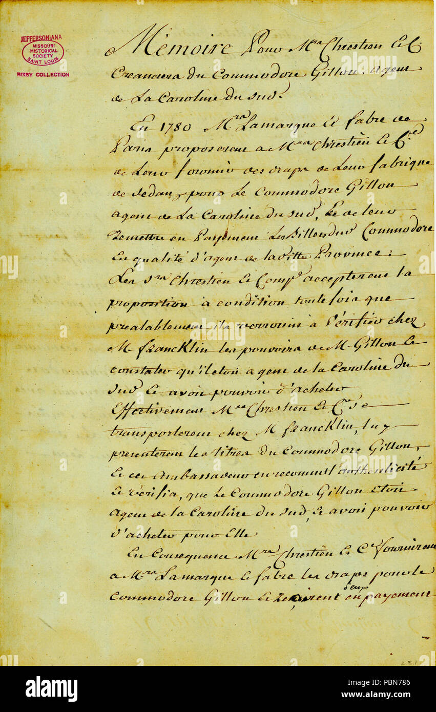 1014 Memorandum for Chrestian and Co., creditors of Commodore Alexander Gillon, an agent of South Carolina, ca. February 1788 - Stock Image
