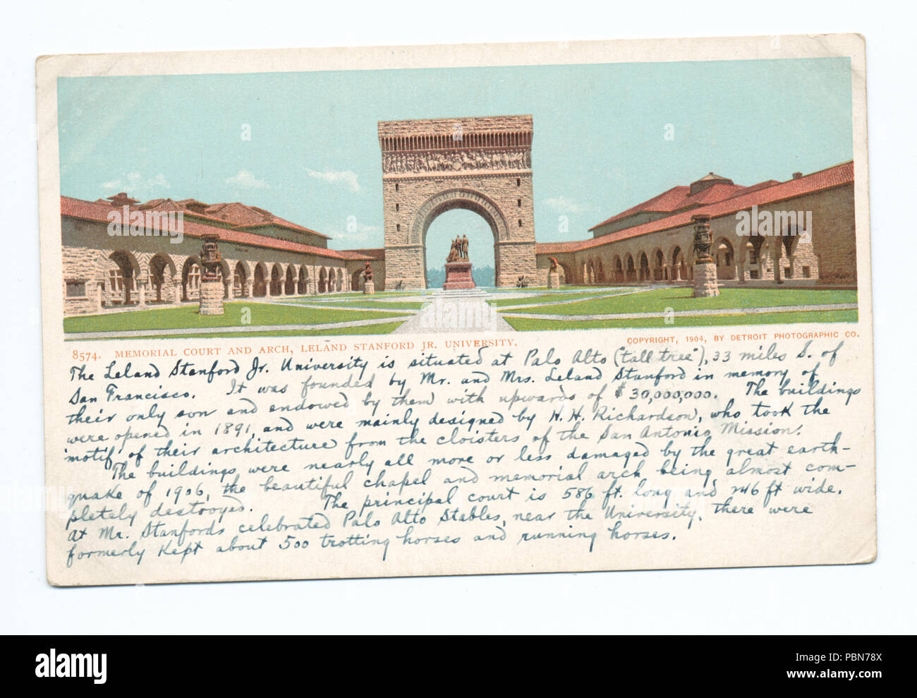 1014 Memorial Court and Arch, Leland Stanford Univ., Palo Alto, Calif (NYPL b12647398-67856) - Stock Image