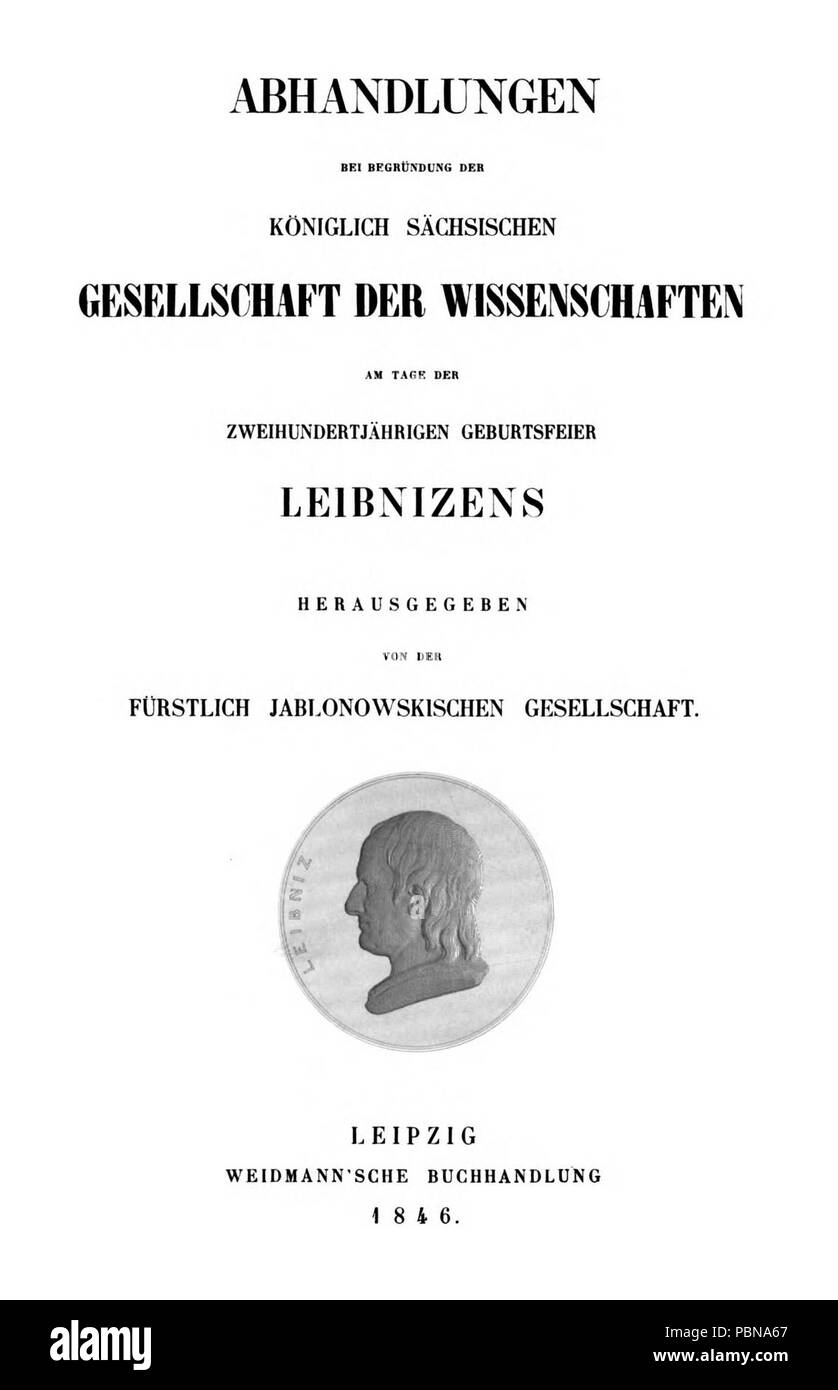 Abhandlungen bei Begründung der Königlich Sächsischen Gesellschaft der Wissenschaften 1846 Titel. - Stock Image