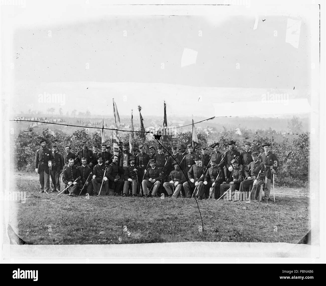 957 Lt. Col. James J. Smith and officers of 69th New York Infantry (Irish Brigade) - Stock Image