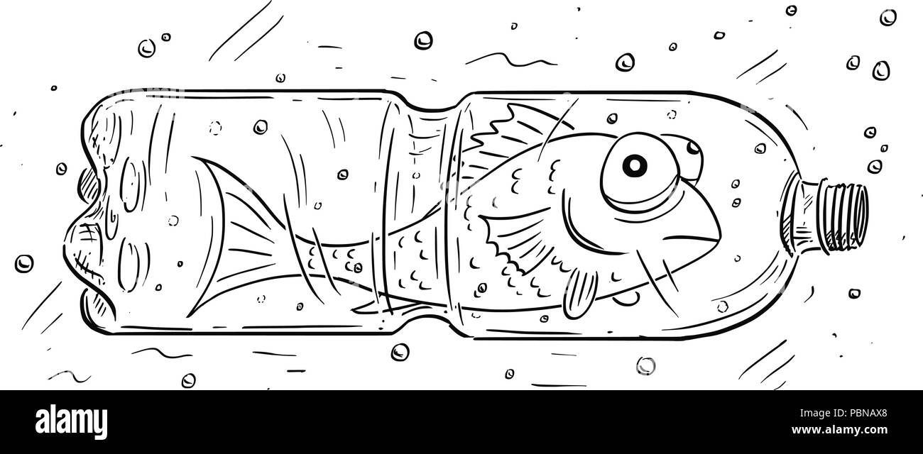 Cartoon of Fish Trapped in Plastic Bottle - Stock Image