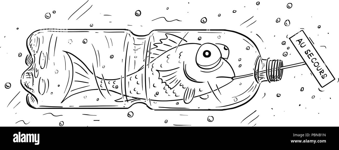 Cartoon of Fish Trapped in Plastic Bottle Holding Au Secours Sign - Stock Image