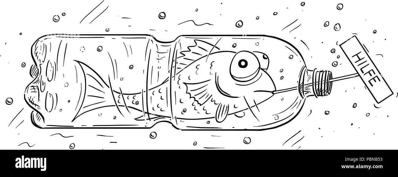 Cartoon of Fish Trapped in Plastic Bottle Holding Hilfe Sign - Stock Image