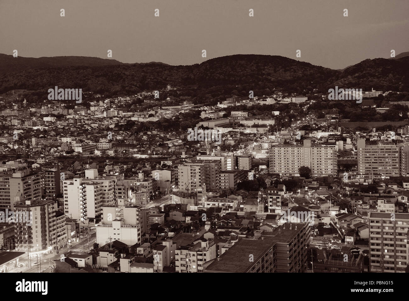 Kyoto city rooftop view at night from above. Japan. Stock Photo
