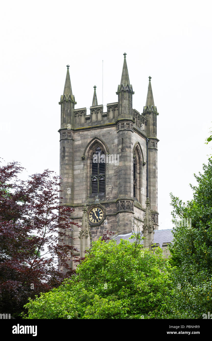 The bell tower of Stoke Minster in Stoke-On-Trent, England.  The minster is dedicated to St Peter ad Vincula (St Peter in Chains). - Stock Image