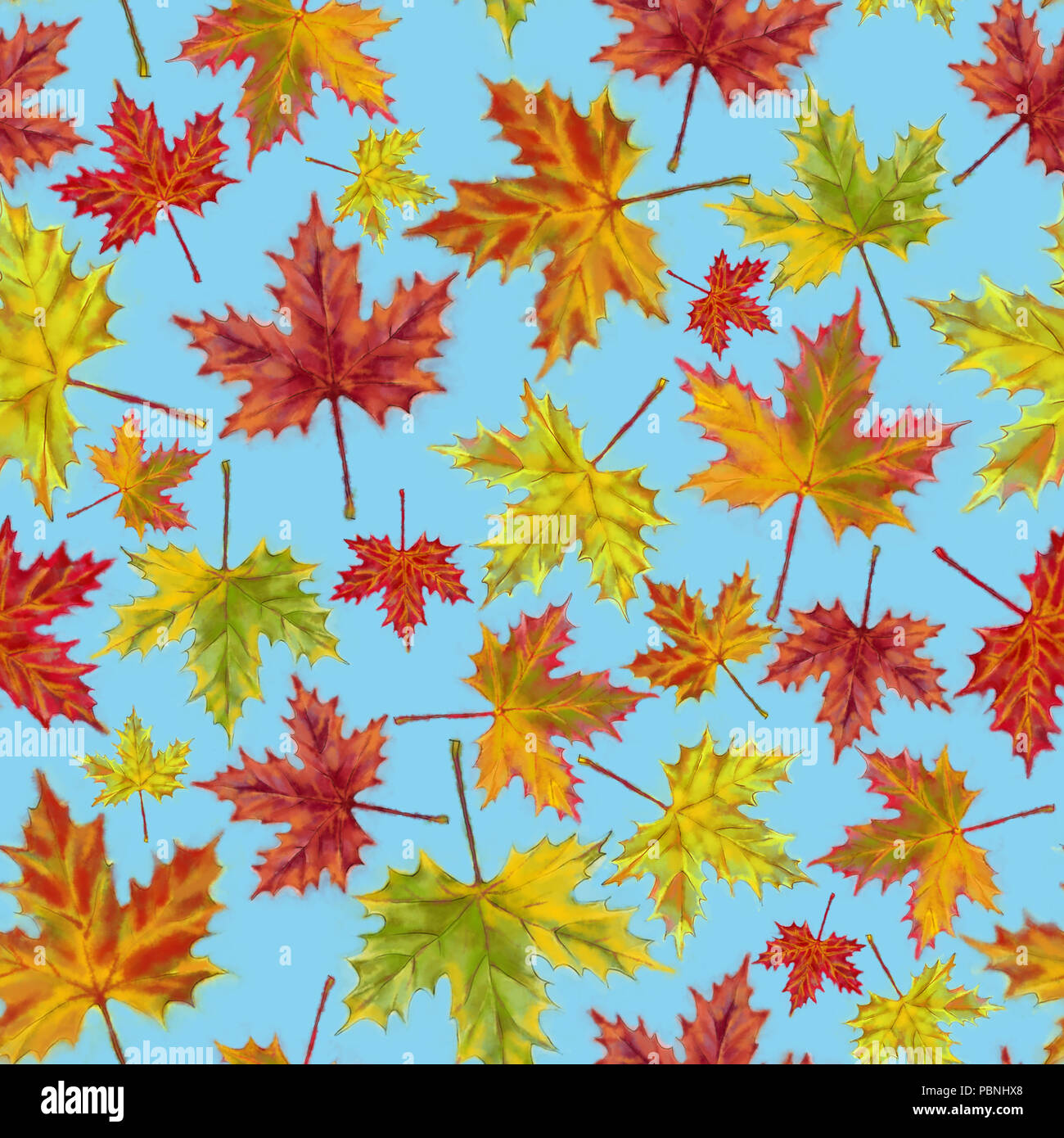Autumn Maple Leaves Seamless Pattern on Blue Background. Autumnal ...