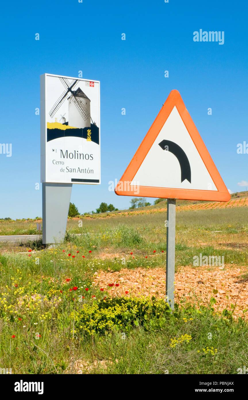 Traffic sign and information sign. Alcazar de San Juan, Spain. Stock Photo