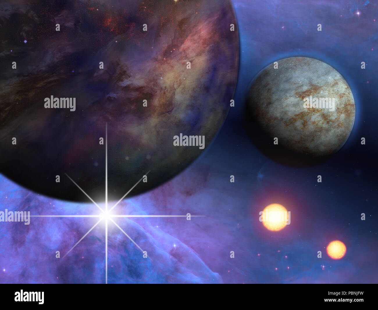 Deep space. Planets, stars and suns - Stock Image