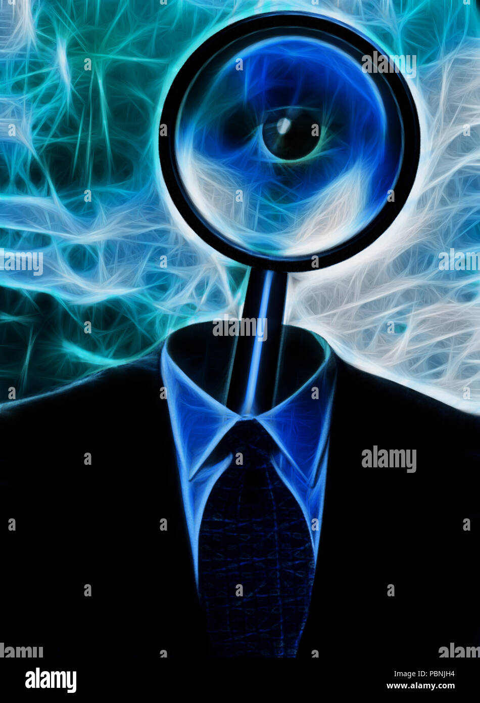Metaphor. Magnify Glass in Suit - Stock Image