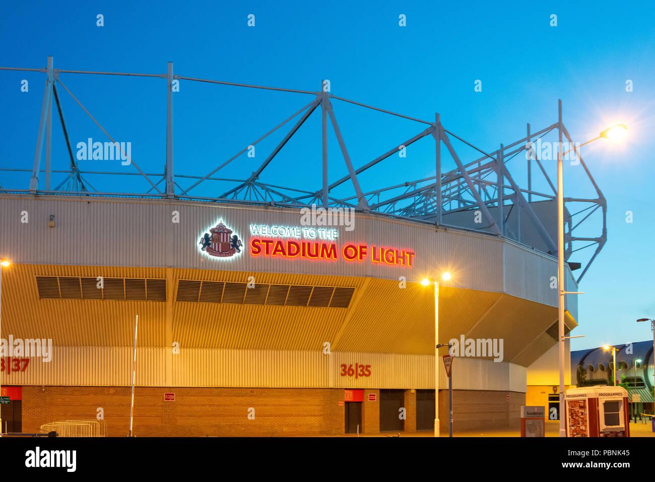 The Stadium of Light at dusk, Vaux Brewery Way, Sheepfolds, Sunderland, Tyne and Wear, England, United Kingdom Stock Photo