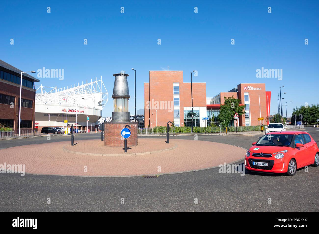 Miner's Lamp roundabout, Stadium Way, Sheepfolds, Sunderland, Tyne and Wear, England, United Kingdom - Stock Image