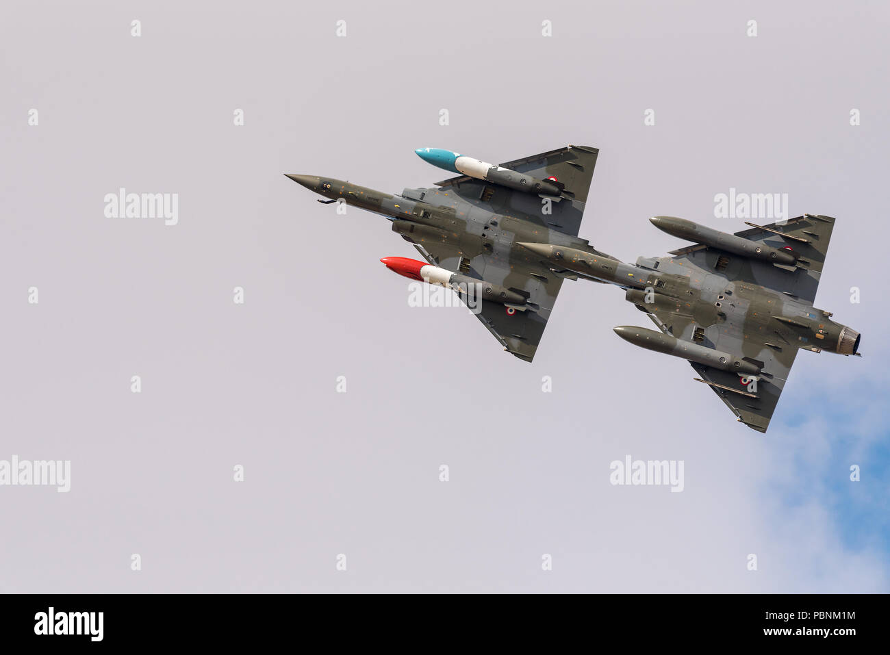 Two Dassault Mirage 2000D fighter jets from the French Air Force put