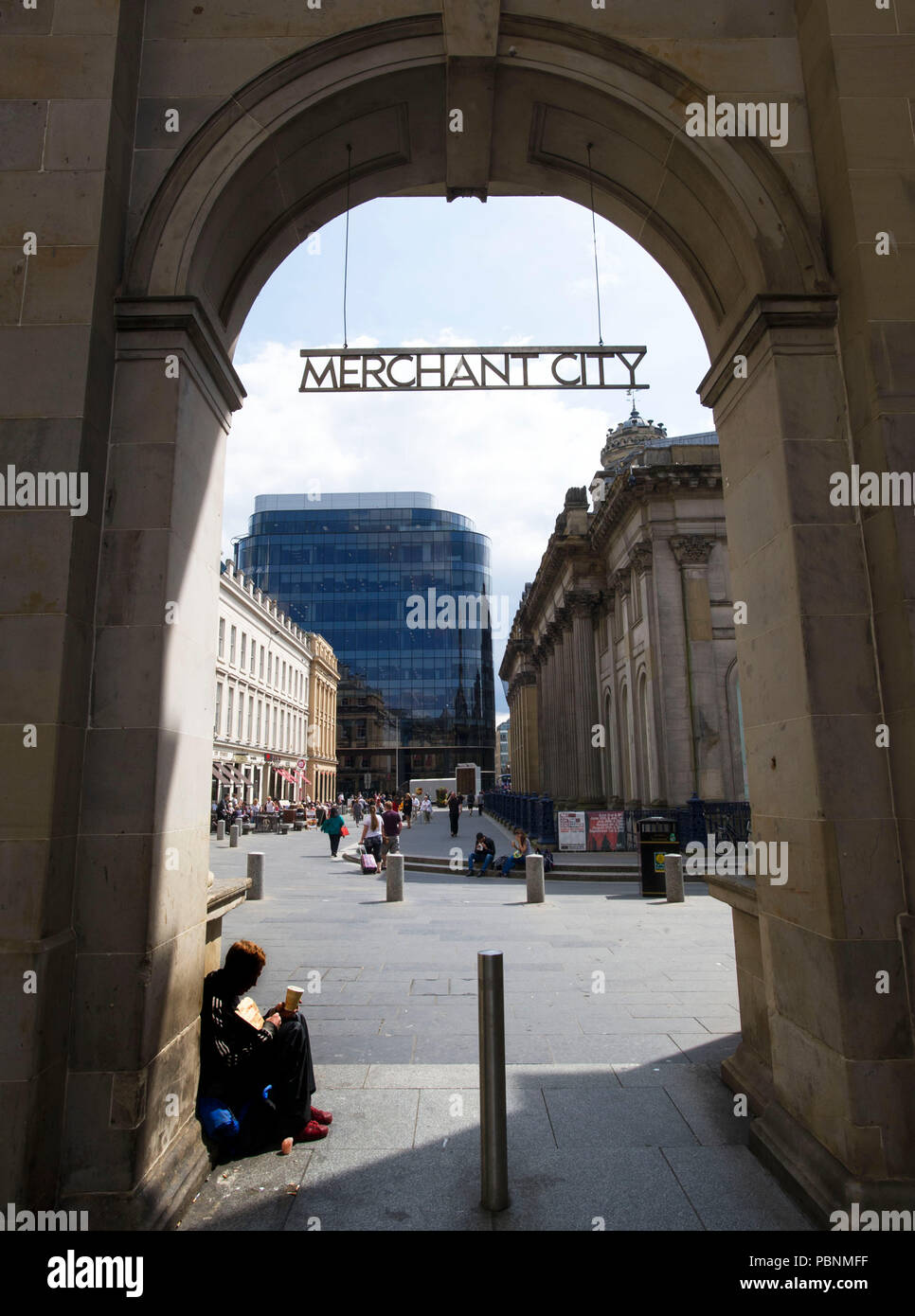 Archway to the Merchant City in Glasgow city centre. - Stock Image