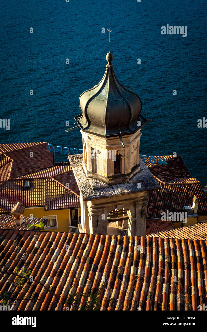 Church of S, toweran Rocco, Limone sul Garda, a town and comune in the province of Brescia, in Lombardy, on the shore of Lake Garda, Italy - Stock Image