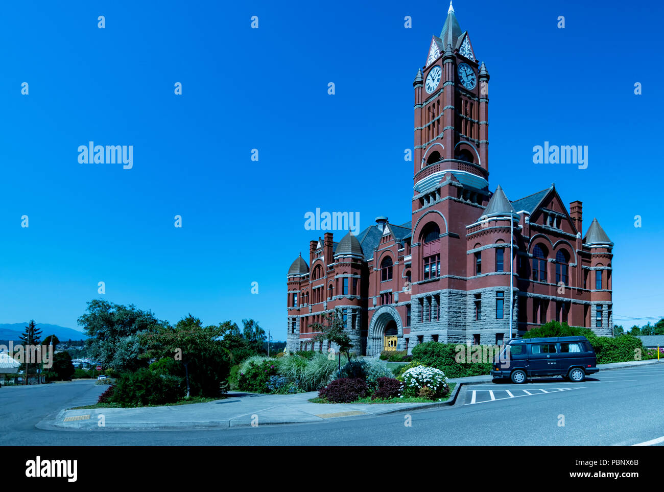 Jefferson County Courthouse 3. Built in red brick Romanesque Revival style in 1892 by Architect W. A. Ritchie. Port Townsend, Washington, USA - Stock Image