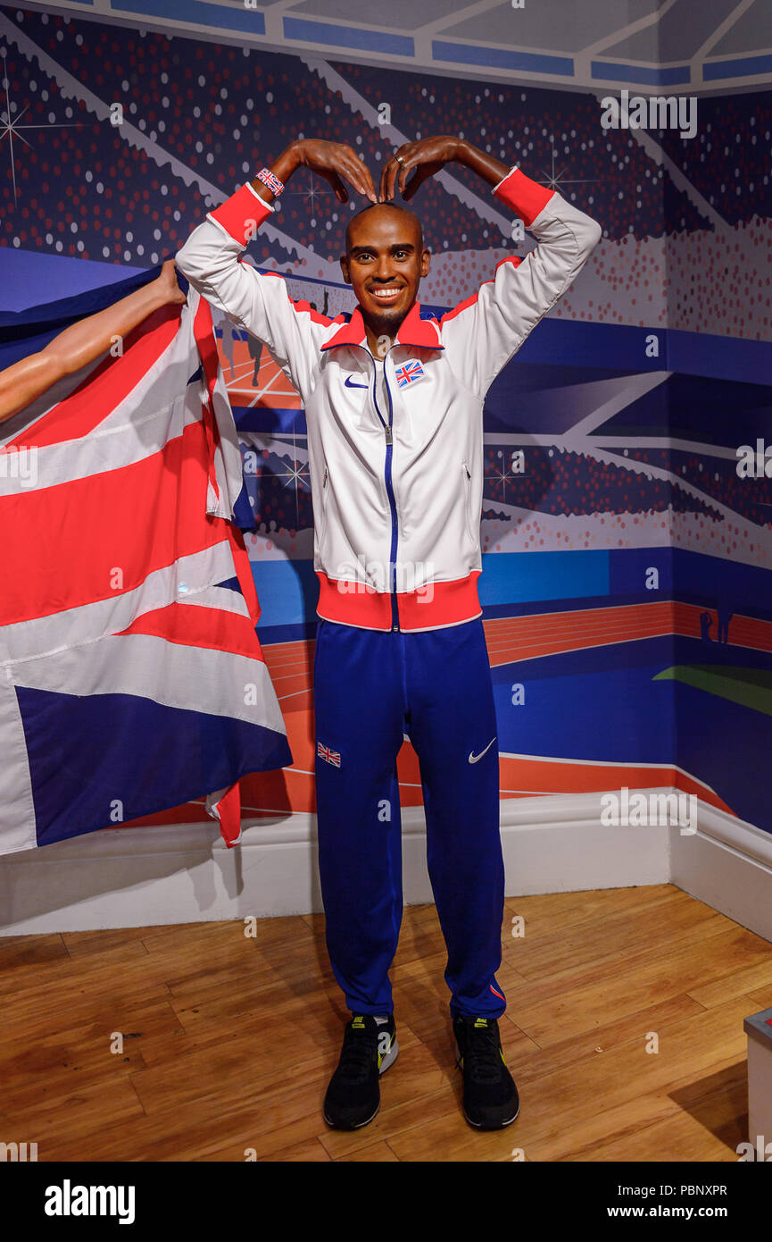 LONDON, ENGLAND - JULY 22, 2016: Brisitsh athlet Mo Farah, Madame Tussauds wax museum. It is a major tourist attraction in London - Stock Image