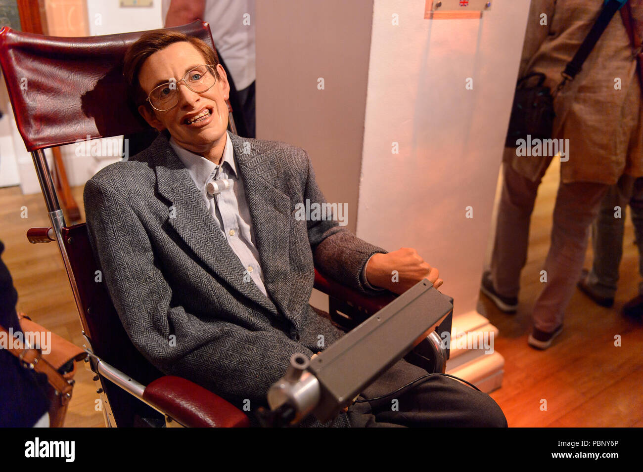 LONDON, ENGLAND - JULY 22, 2016: Professor Stephen Hawking,  Madame Tussauds wax museum. It is a major tourist attraction in London Stock Photo