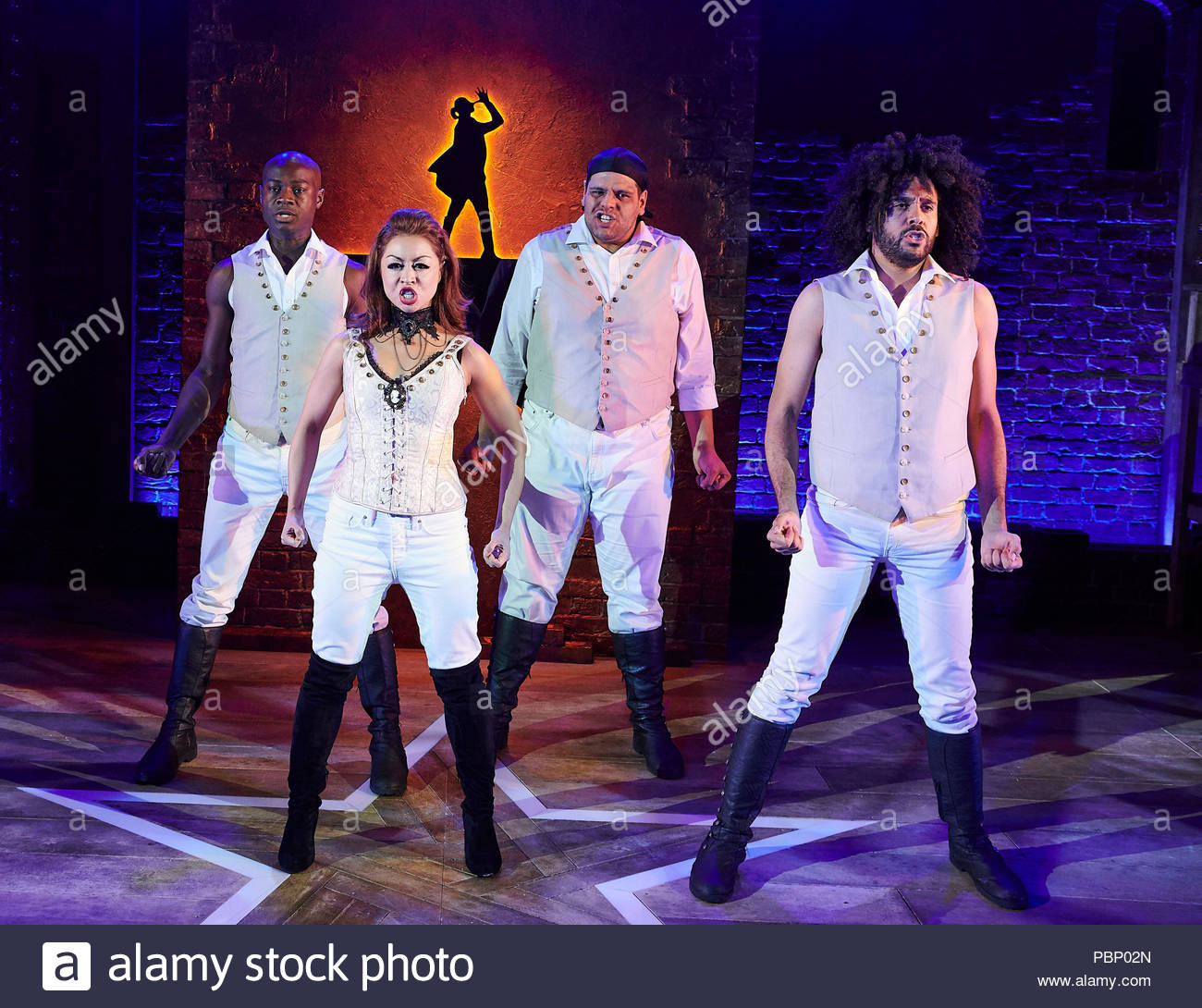 Spamilton. An American Parody.Written and directed by Gerard Alessandrini, choregraphed by Gerry McIntyre. With Eddie Elliott,  Julie Yammanee, Mark Akinfolarin, Jason Denton. Opens at The Mernier Chocolate Factory Theatre on 24/7/18. CREDIT Geraint Lewis EDITORIAL USE ONLY - Stock Image