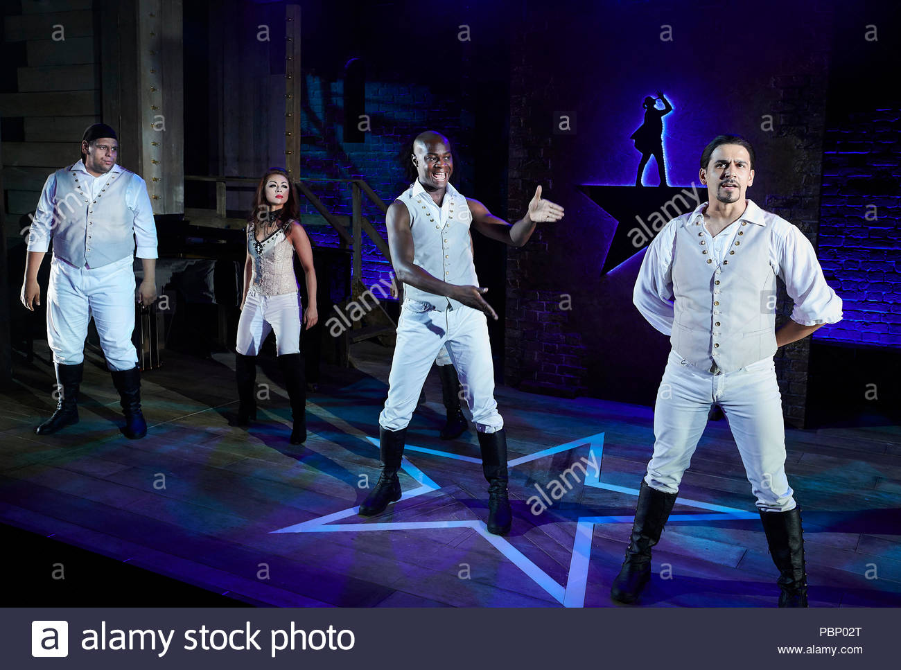 Spamilton. An American Parody.Written and directed by Gerard Alessandrini, choregraphed by Gerry McIntyre. With Mark Akinfolarin, Julie Yammanee, Eddie Elliott, Liam Tamne. Opens at The Mernier Chocolate Factory Theatre on 24/7/18. CREDIT Geraint Lewis EDITORIAL USE ONLY - Stock Image