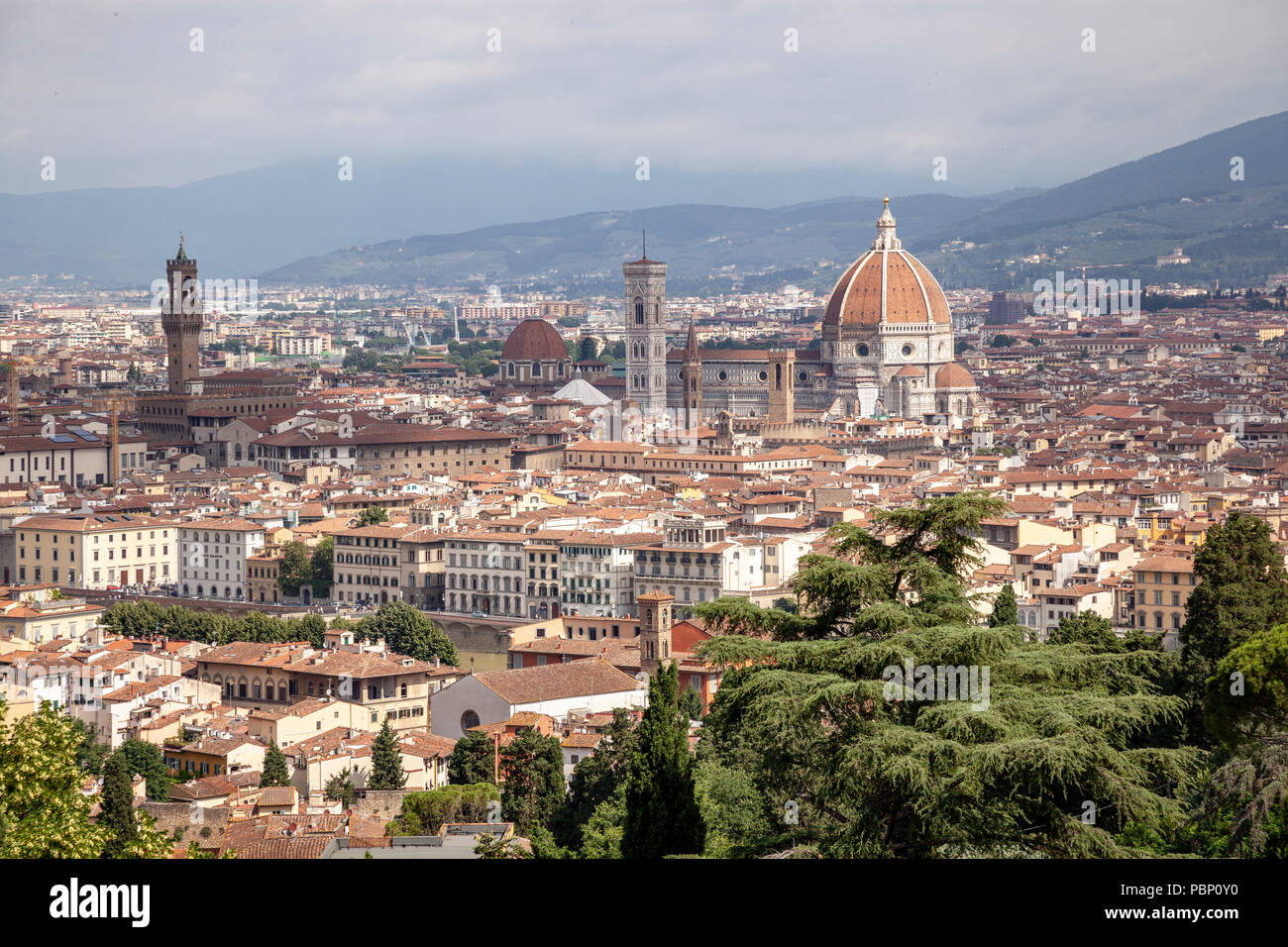 A view of Florence taken from the vantage point of San Miniato al Monte and focusing on: the historical centre, - Stock Image