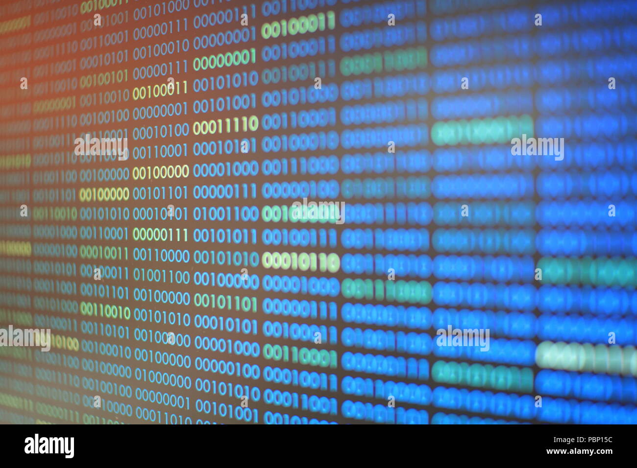 blue binary code. blocks of binary data. Blockchain concept. blue background with computer digital binary code bit number one and zero text. - Stock Image