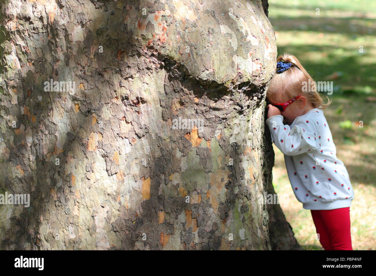 concept of crying, sulking or playing hide and seek by a young girl - Stock Image