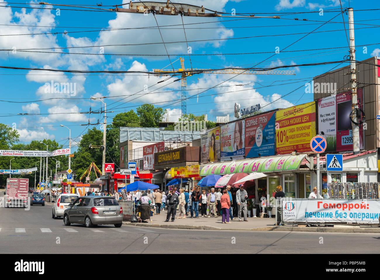 Street outside the City Market Hall, City of Kaliningrad, Oblast, region, Baltic, Russia, Europe - Stock Image