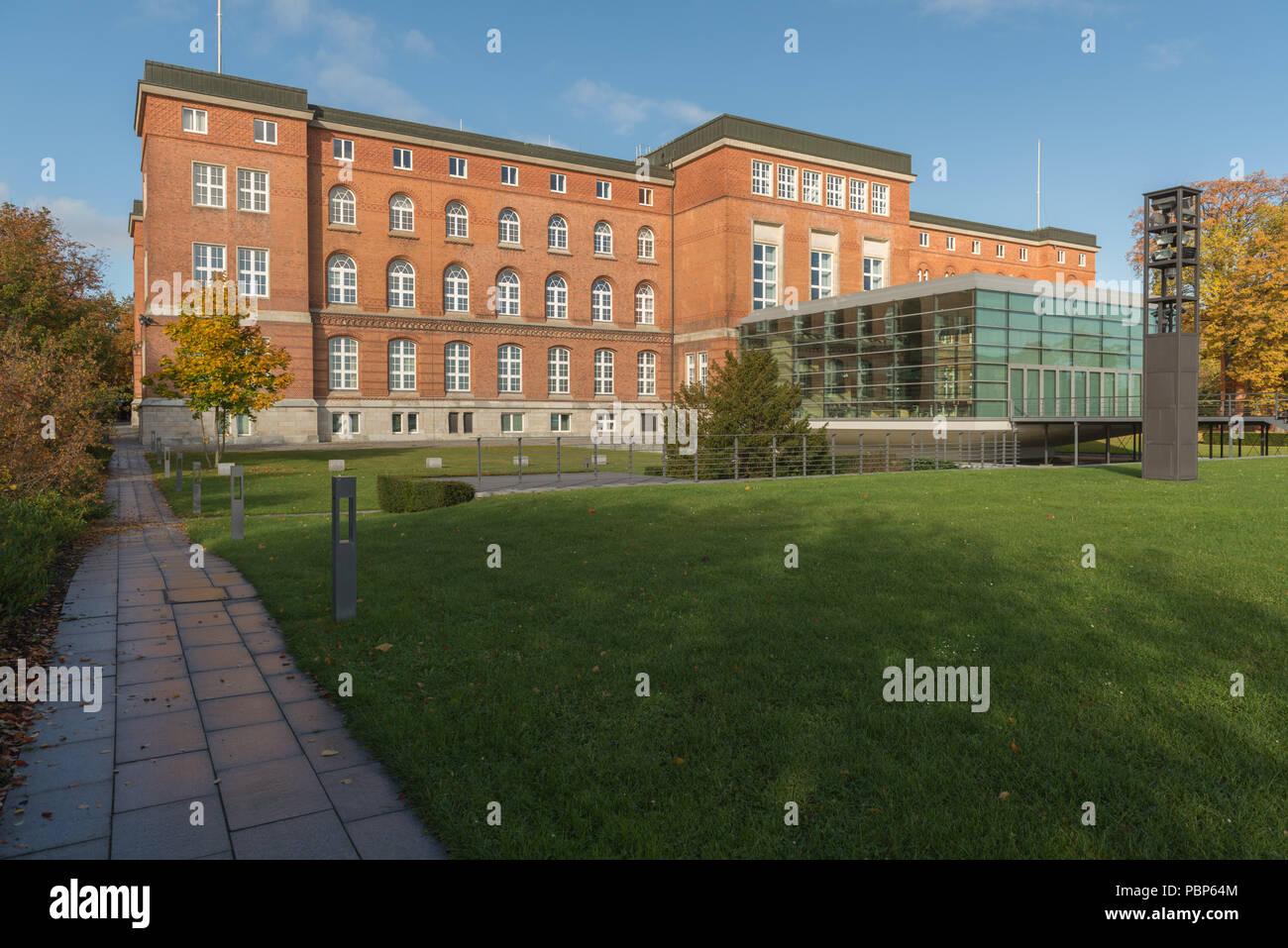 Government building, parliament building, glass construction,  Kiel Fjord, Kiel, capital of Schleswig-Holstein, Germany, Europe - Stock Image