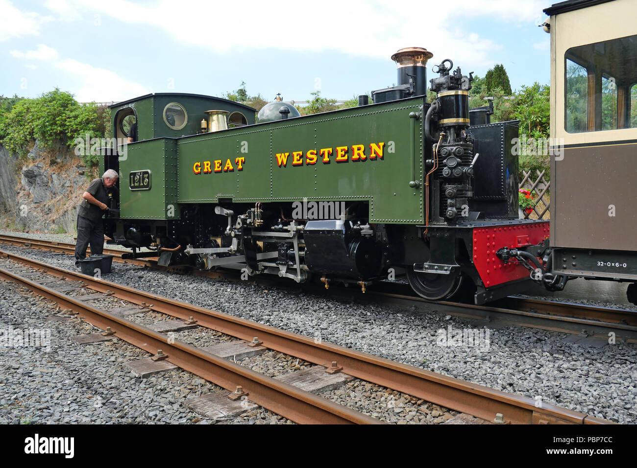 Devil's Bridge, Wales, UK. July 26th 2018 - Steam Train (Prairie Class Rhino Tank) at the railway Station. - Stock Image