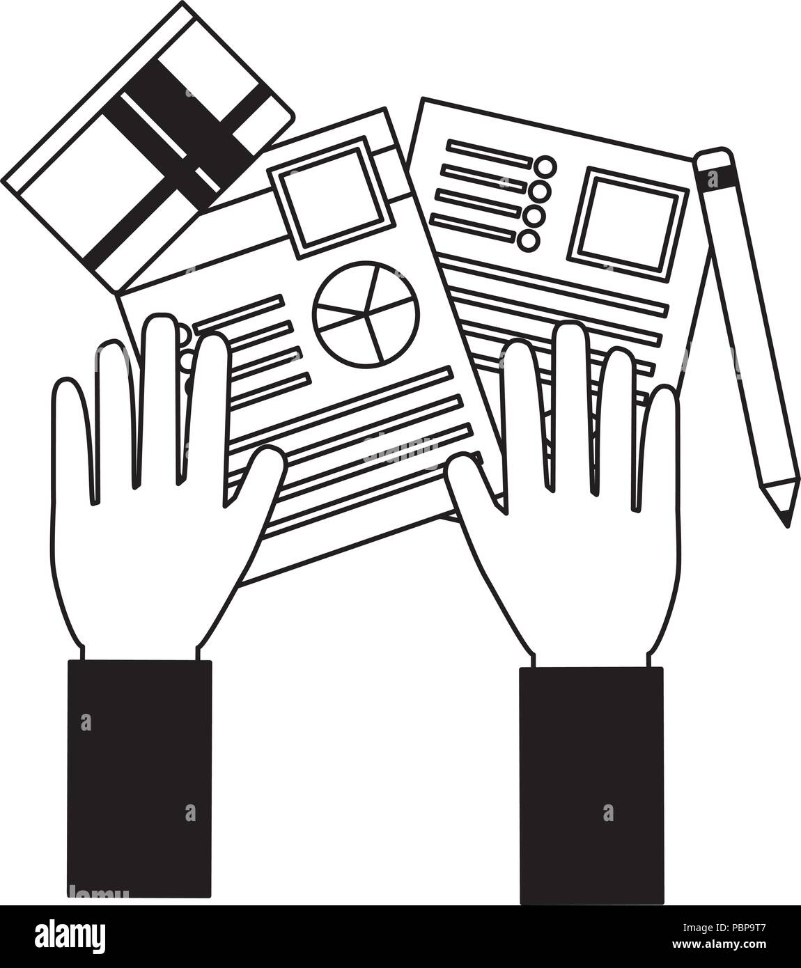 hands with documents files and objects vector illustration