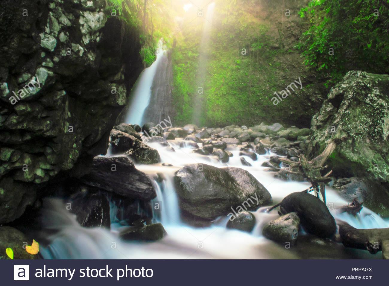 morning waterfalls light - Stock Image