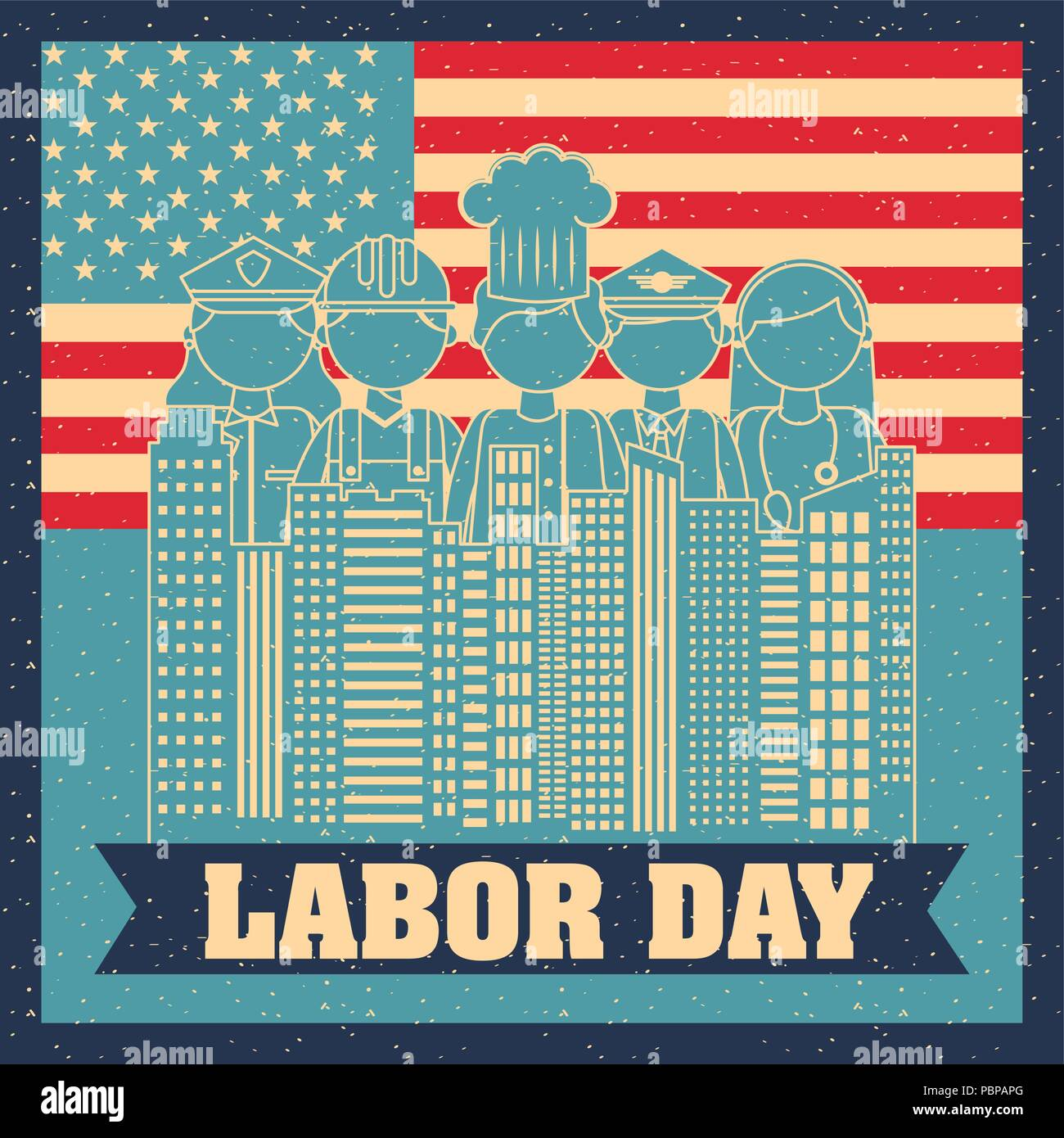 labor day card - Stock Image