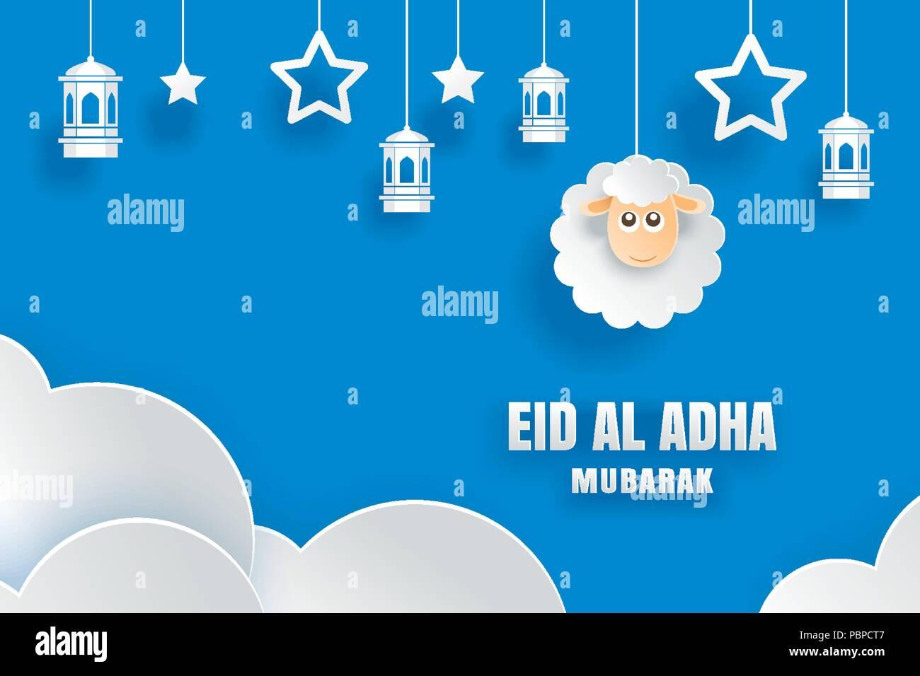Eid Al Adha Mubarak Celebration Card With Sheep In Paper Art Blue