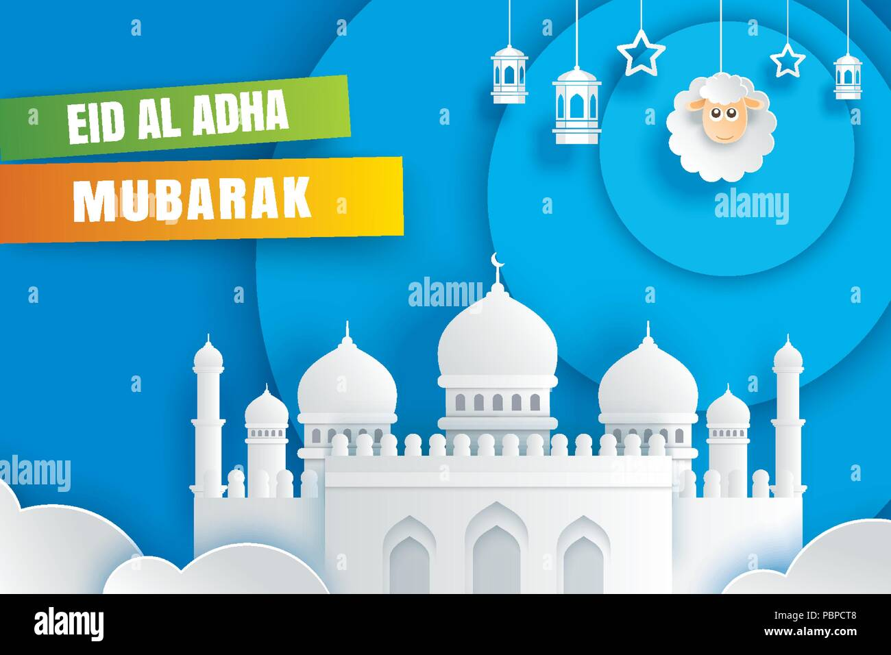 Eid Al Adha Mubarak Celebration Card With Mosque And Sheep In Paper