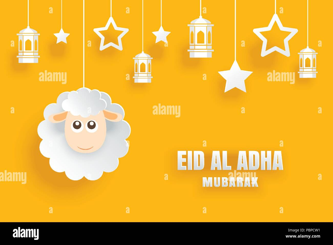 eid al adha mubarak celebration card with sheep in paper art yellow background use for banner poster flyer brochure sale template stock vector image art alamy https www alamy com eid al adha mubarak celebration card with sheep in paper art yellow background use for banner poster flyer brochure sale template image213778685 html