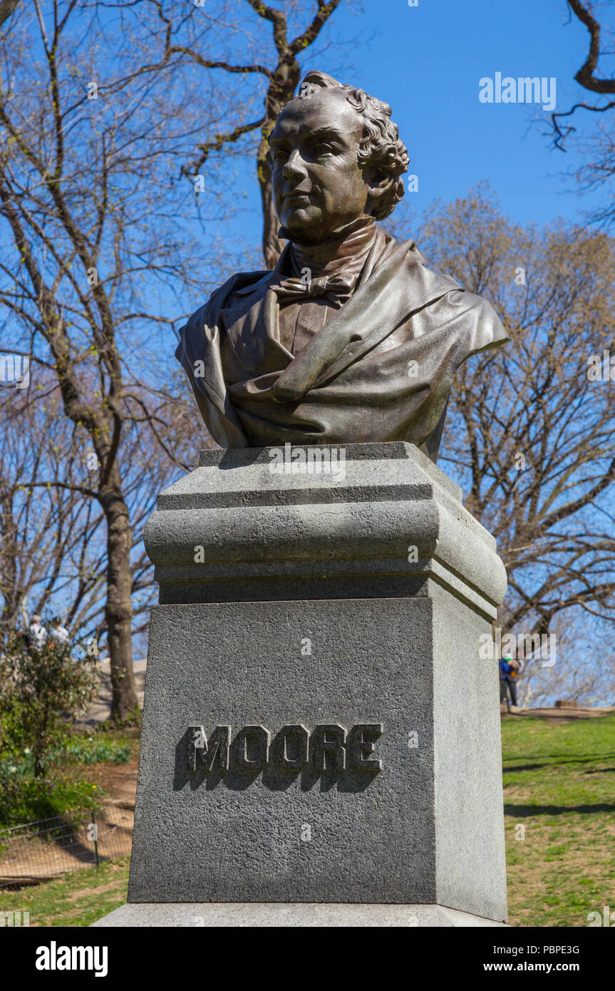 Bust of Thomas Moore in Central Park, New York, USA - Stock Image
