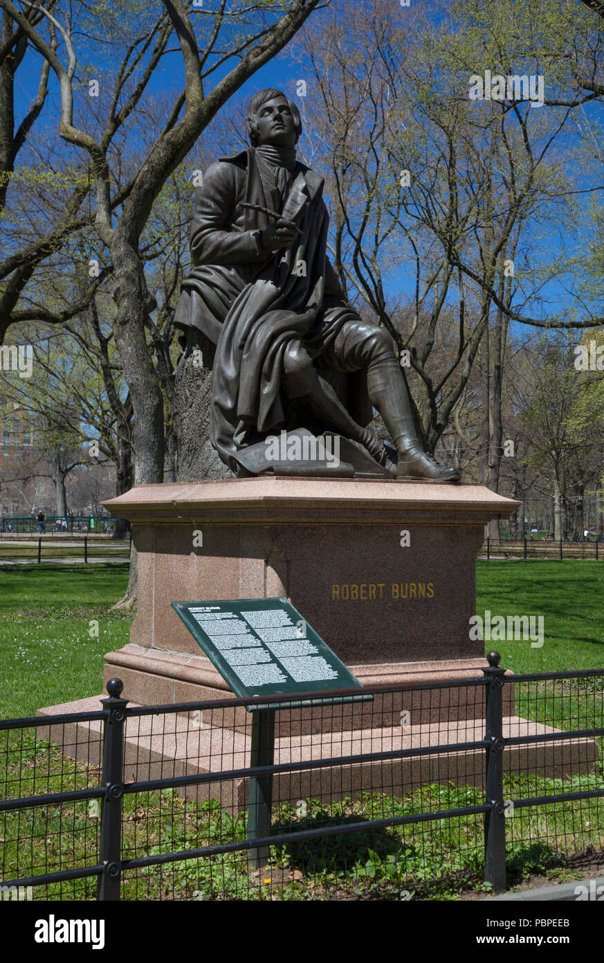 Robert Burns sculpture by John Steell in Central Park, New York, USA Stock Photo