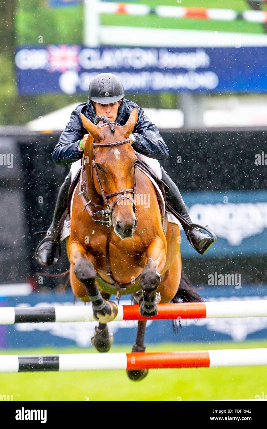 5th place. Joe Clayton riding Dewpoint Diamond. GBR.The Old Lodge International  7&8 year old Championship. Jump Off. Showjumping. Longines FEI Jumping Nations Cup of Great Britain at the BHS Royal International Horse Show. All England Jumping Course. Hickstead. Great Britain. 29/07/2018. - Stock Image