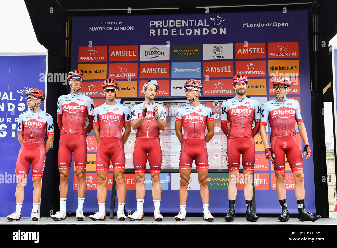 London, UK, 28 July 2018. Team Katusha Alpecin at Riders Presentation during at Prudential RideLondon Surrey Classic 2018 on Sunday, July 29, 2018, LONDON ENGLAND: Photo : Taka G Wu Stock Photo