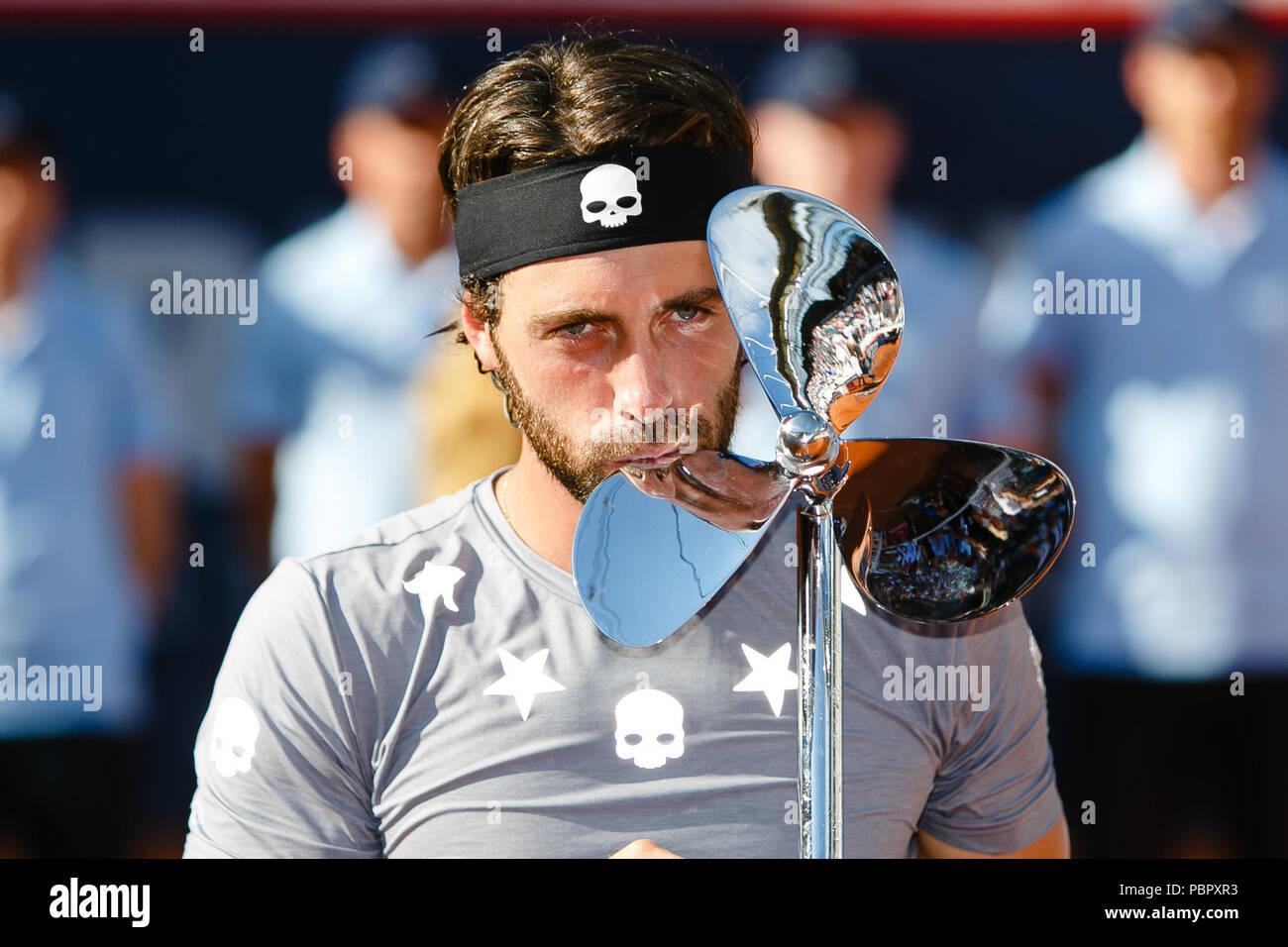 Hamburg, Germany, 29th July 2018: Nikoloz Basilashvili of Georgia won his 1st ATP Tour title when he defeated Leonardo Mayer in the final during the German Open at Hamburg Rothenbaum. Credit: Frank Molter/Alamy Live news - Stock Image