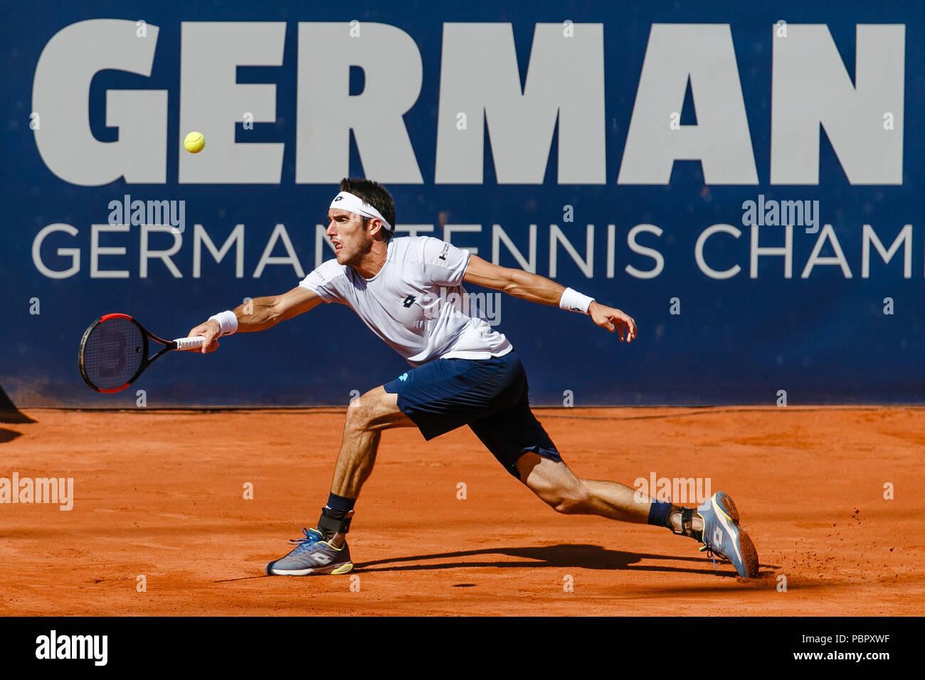 Der Argentinier Leonardo Mayer während des Finales bei den German Open am Hamburger Rothenbaum. - Stock Image