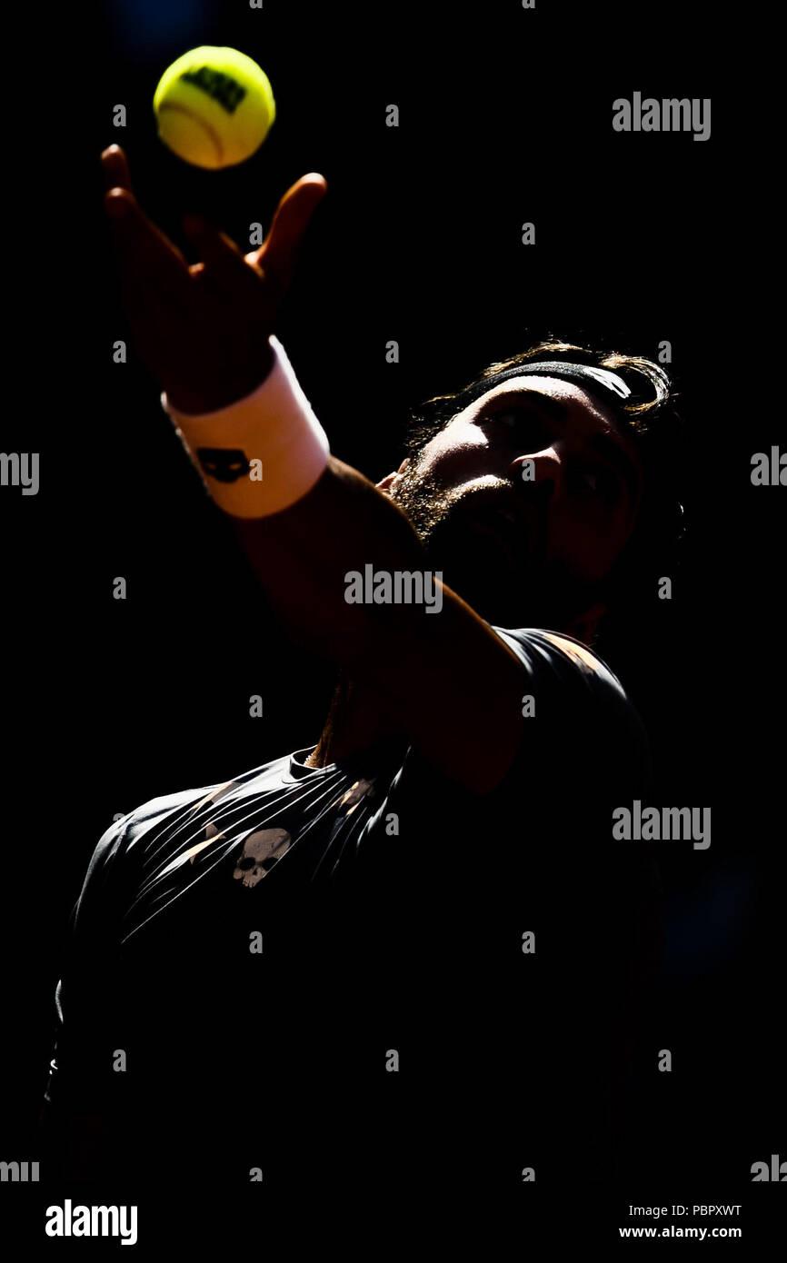 Hamburg, Germany, 29th July 2018: Nikoloz Basilashvili of Georgia won his 1st ATP-Tour title during the German Open at Hamburg Rothenbaum. Credit: Frank Molter/Alamy Live news - Stock Image