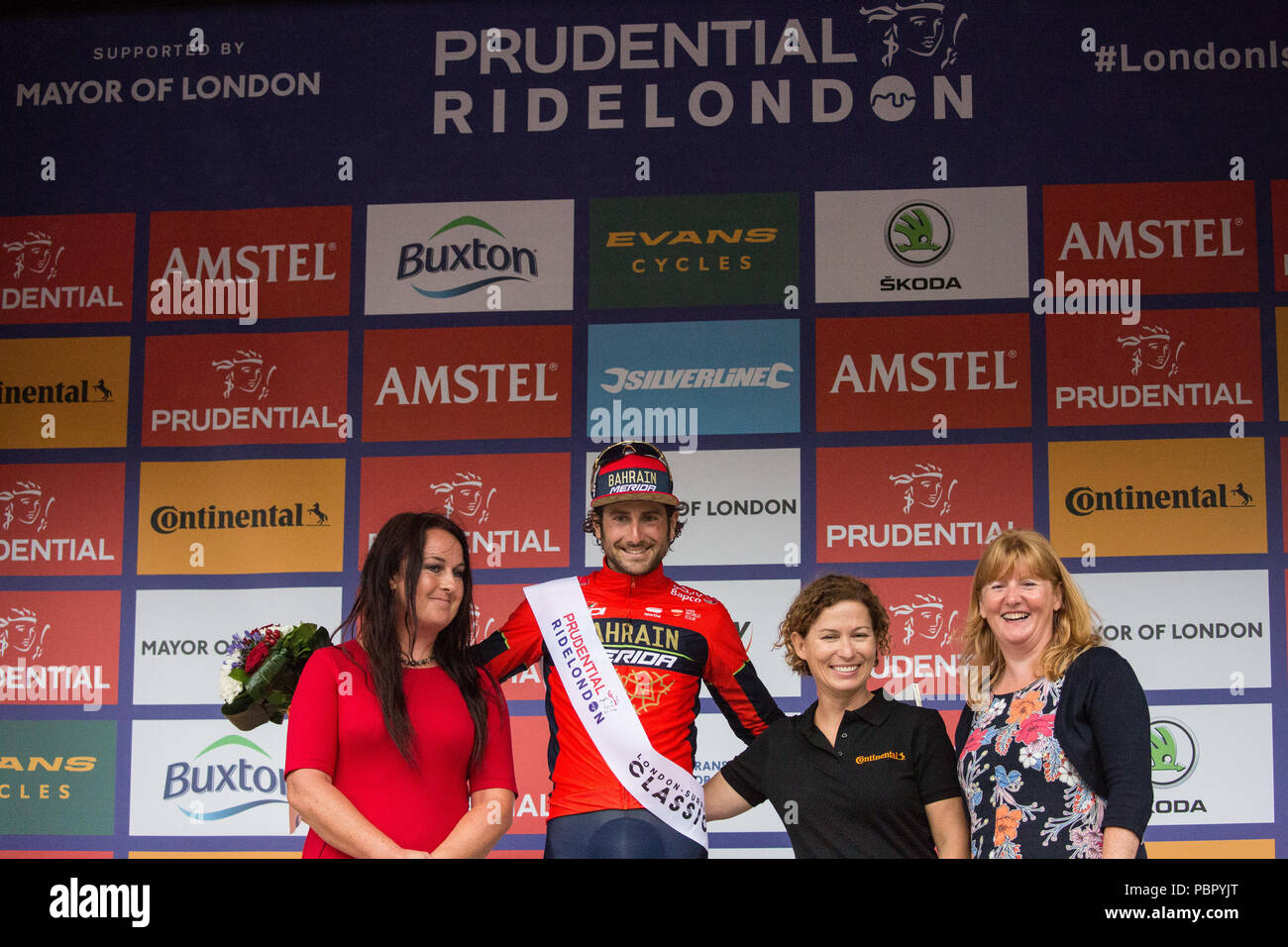 London, UK. 29th July, 2018. Manuele Boaro of the Bahrain-Merida team celebrates winning the King of the Sprint title at the Prudential RideLondon-Surrey Classic, Britain's only men's UCI World Tour race and the world's richest one-day race with prizes worth 100,000 Euros to be won. - Stock Image