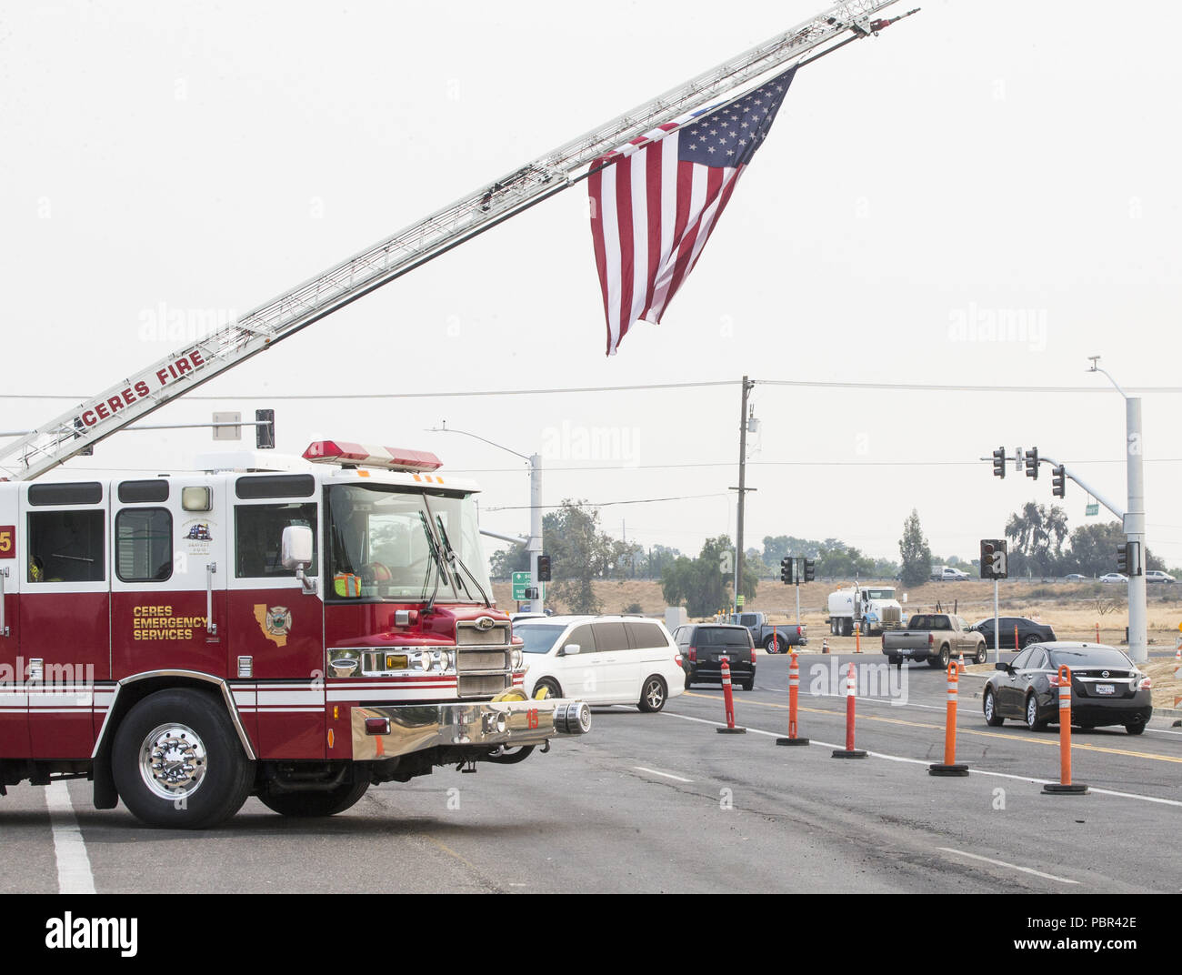 Modesto, California, U S A  29th July, 2018  Ceres Fire raised a