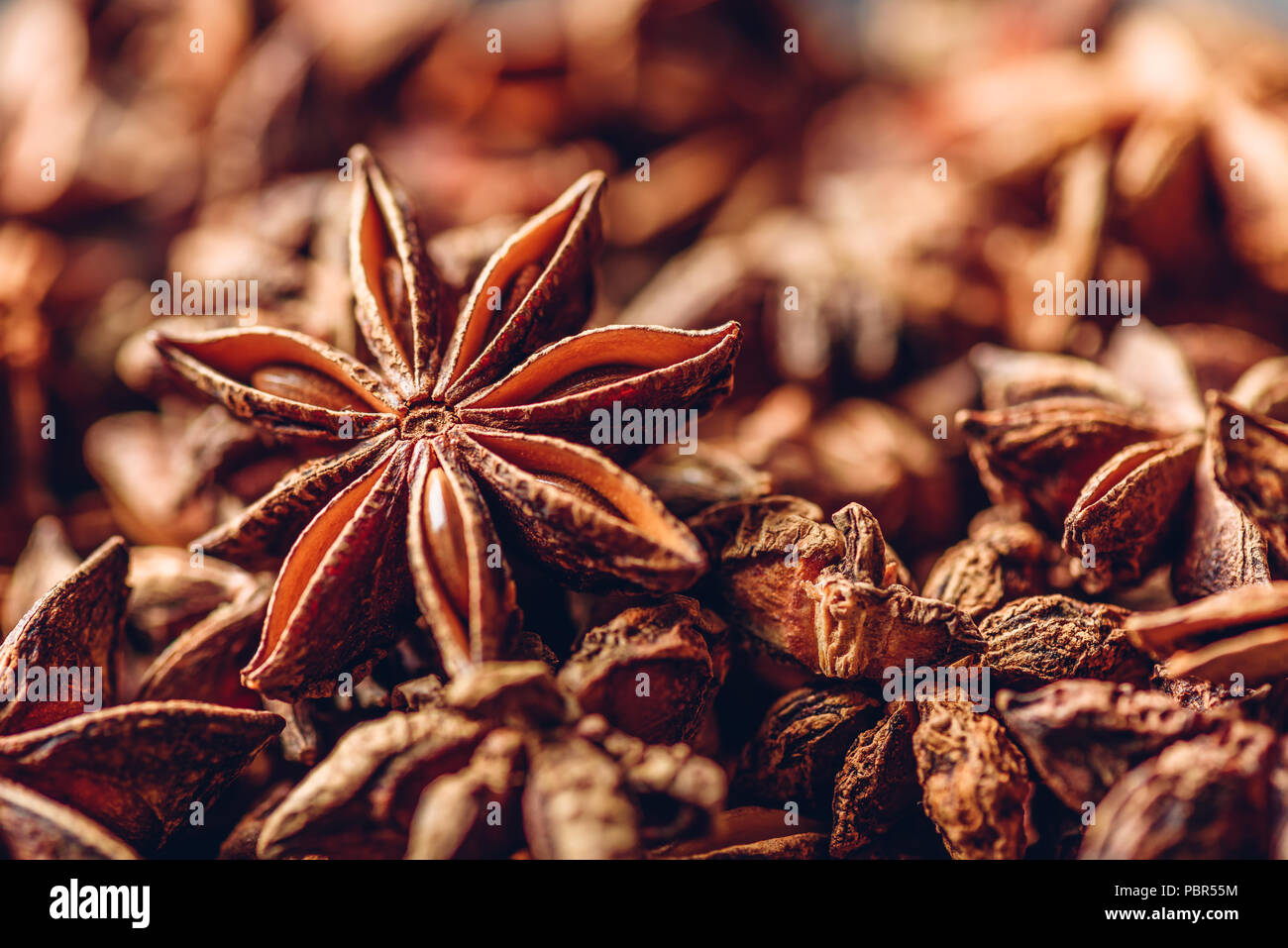 Background of Star Anise Fruits and Seeds. - Stock Image