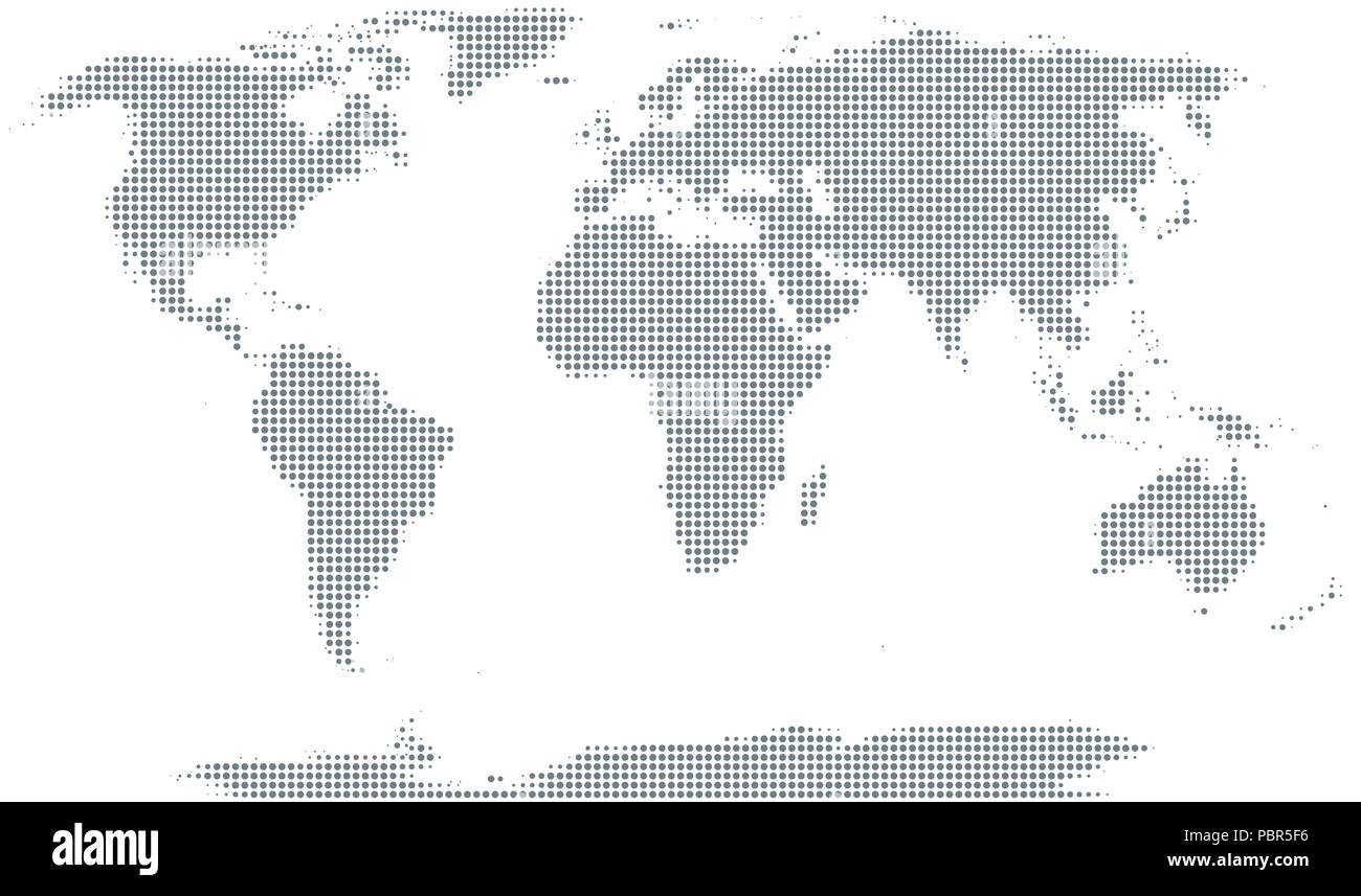 Silhouette of the world. Gray halftone dots, varying in size and spacing. Map of the world. Dotted outline and surface of the Earth. - Stock Image